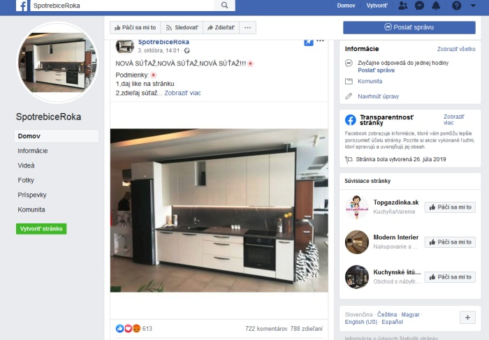 Spotrebiče roka podvodná stránka facebook